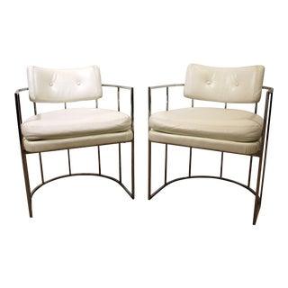 Mid-Century Modern Milo Baughman Thayer Coggin Chrome Lounge Chairs - A Pair