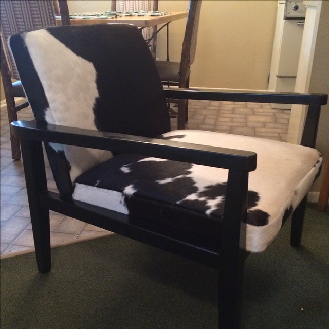 Mid-Century Genuine Cowhide Accent Chair & Ottoman - Image 4 of 11