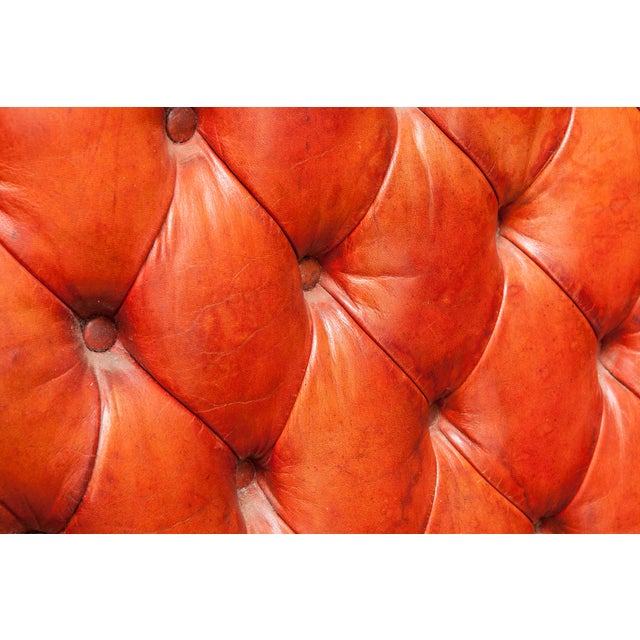 English Cigar Leather Tufted Wing Chairs - Pair - Image 7 of 10