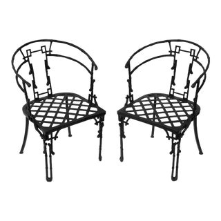 Pair of Fanciful Iron Faux Bamboo Outdoor Armchairs For Sale