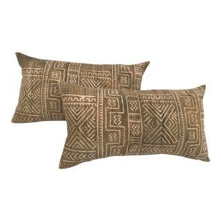 Mali Tribal Faded Mud Cloth Body Pillows - A Pair