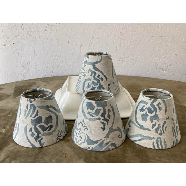 Contemporary Blue & White Fortuny Chandelier Shades - Set of 4 For Sale In Philadelphia - Image 6 of 6