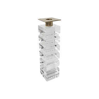 Stacked Lucite and Brass Candle Holder For Sale
