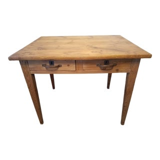 Antique Pine Two Drawer Table/Desk For Sale