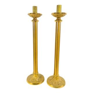 1920s Vintage Brass Candle Sticks - A Pair