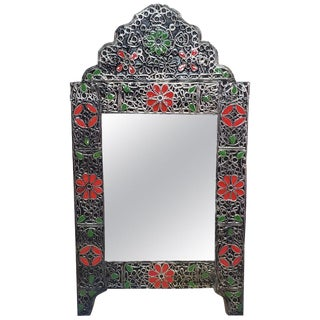 Moroccan Ultra Arched Metal Inlaid Mirror, Rabat, Multi-Color Motif For Sale