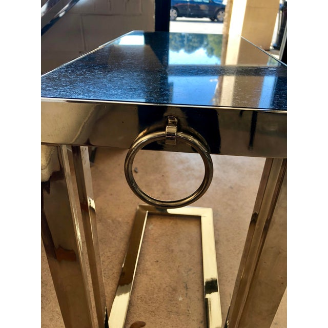 2000s Contemporary Black Granite and Chrome C Table For Sale - Image 5 of 9