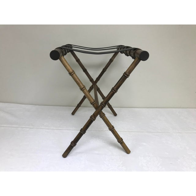 Asian 1960s Regency Faux Bamboo Leather Strap Folding Luggage Rack Stand For Sale - Image 3 of 10