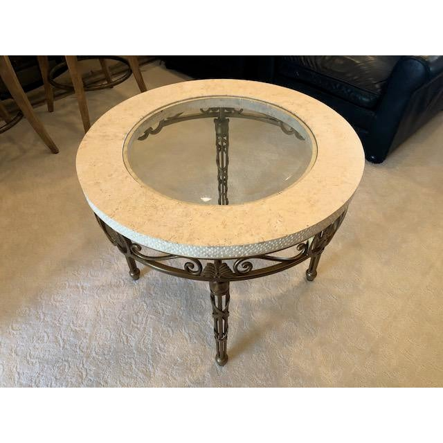 Metal Traditional Drexel Heritage Marble, Metal, and Glass Lamp Table For Sale - Image 7 of 8