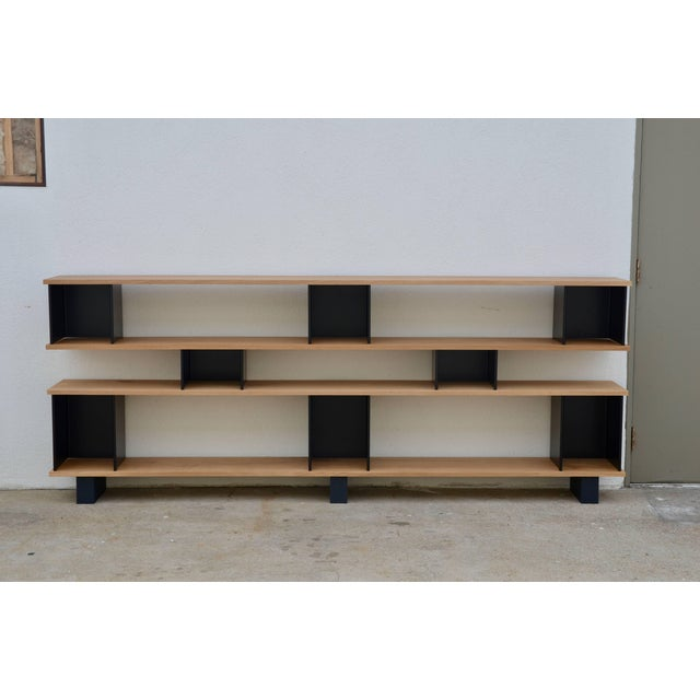 "Metal Design Frères Low ""Horizontal"" Matte Black and Polished Oak Shelving Unit For Sale - Image 7 of 7"