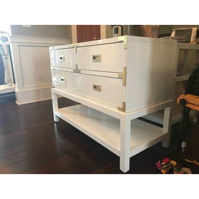 Campaign Modern Bungalow 5 Tansu Campaign White Lacquered Console For Sale - Image 3 of 6