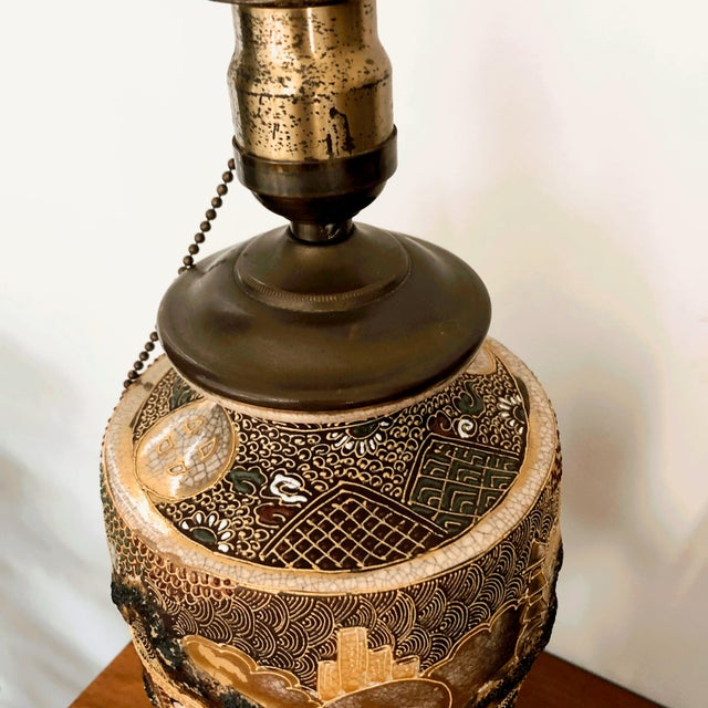 Japanese Satsuma Moriage Table Lamp For Sale - Image 11 of 13