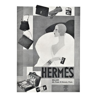 1929 Matted Art Deco Hermes Advertisement Fashion for Elegant Woman