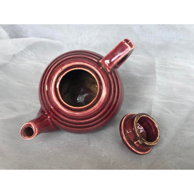 Burgundy Vintage 1940s Usa Pottery Teapot For Sale - Image 8 of 13