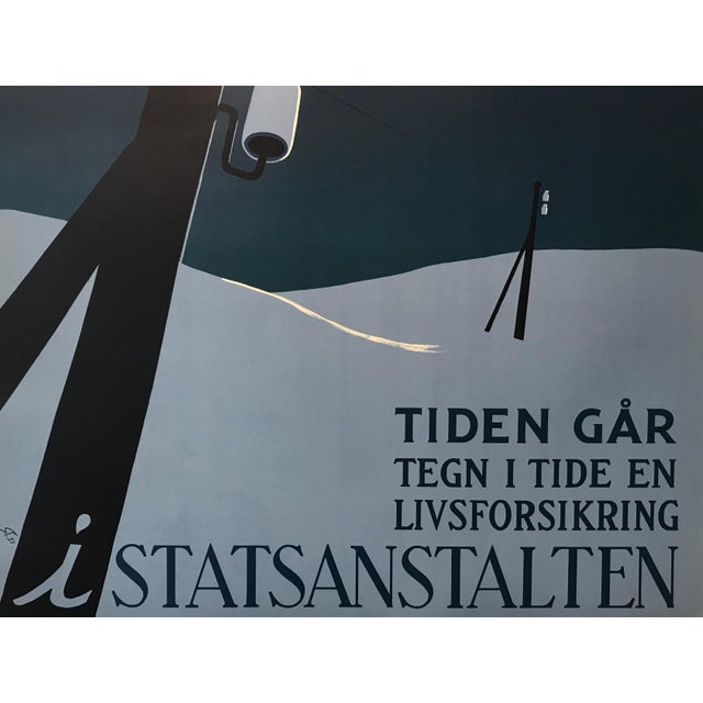 1951 Original Danish Poster, Januar (The Clock Is Ticking) For Sale - Image 4 of 8