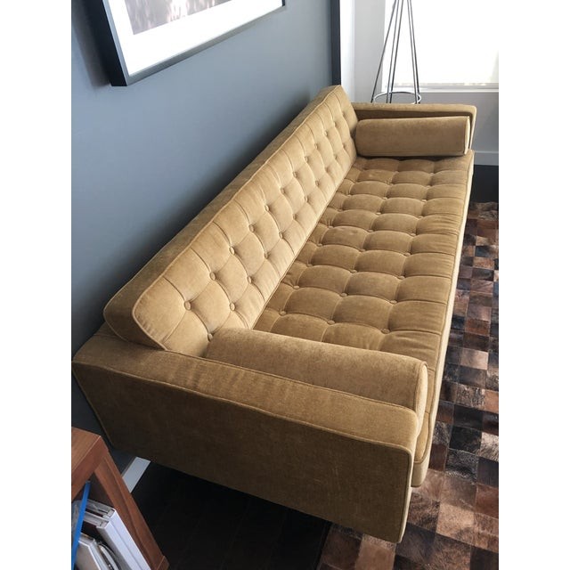 HD Buttercup Hd Buttercup Yellow Velvet Sofa For Sale - Image 4 of 5