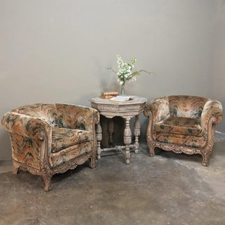 Pair French Walnut Hand Carved Louis XV Armchairs ~ Bergerès Preview