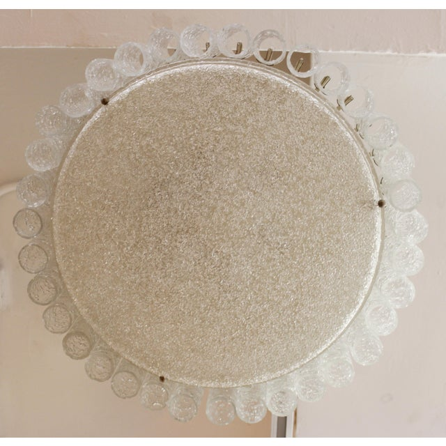 Mid 20th Century Kalmar Mid-Century Modern Frosted Glass Circular Ceiling Light Pendant For Sale - Image 5 of 9