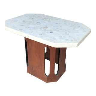 Harvey Probber Terrazzo Walnut Side Table For Sale