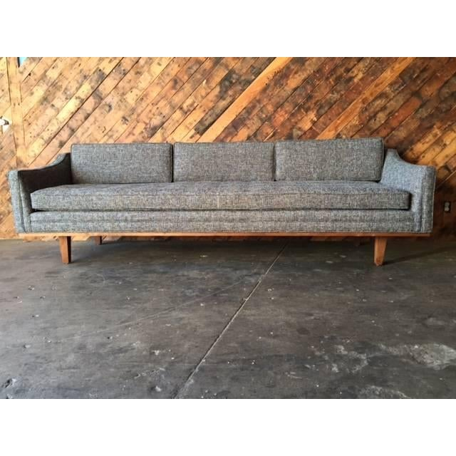Mid Century Style Sofa With Walnut Trim For Sale - Image 7 of 8