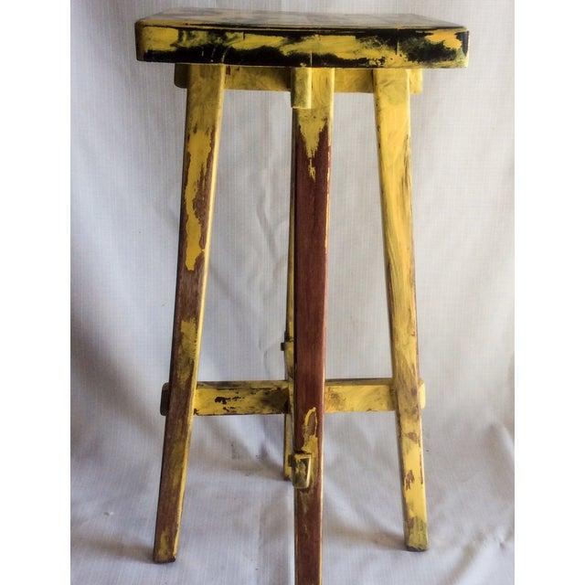 Yellow Distressed Cedro Macho Wood Bar Stool - Image 3 of 8