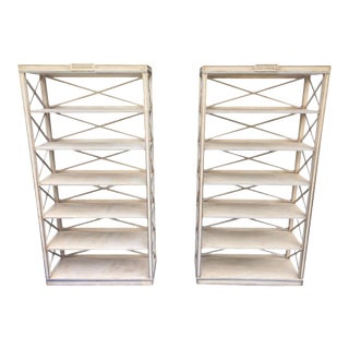 Charles Pollock Chateau White & Silver Swedish Empire Etagere Shelving Units - a Pair For Sale