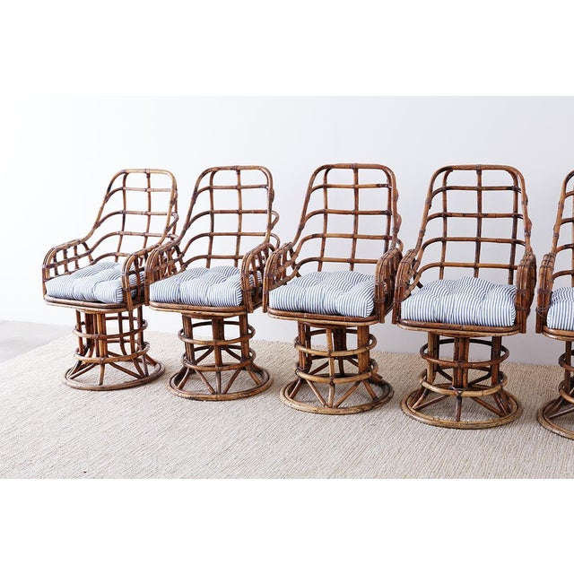 Hollywood Regency Franco Albini Style Bamboo Rattan Swivel Lounge Chairs For Sale - Image 3 of 13