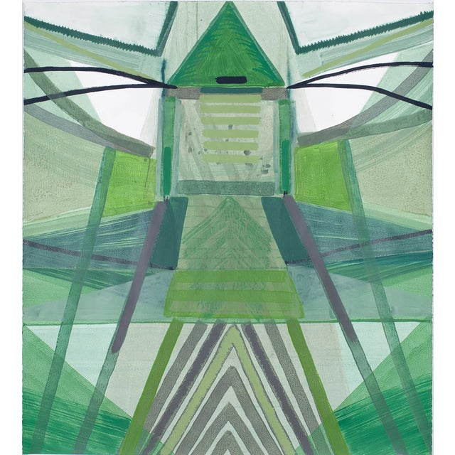 "Abstract Ky Anderson ""Nature Series"" Abstract Green Colorful Painting on Paper For Sale - Image 3 of 3"