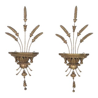Mid-Century Sheaf of Wheat Wall Shelves, Pair For Sale