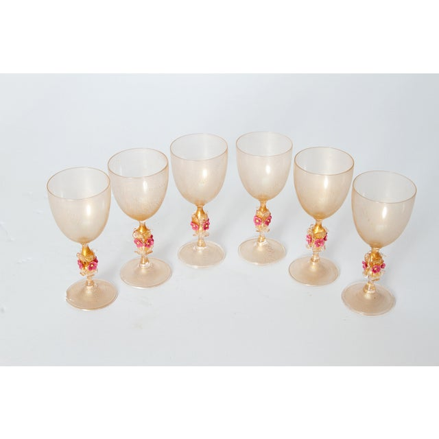 Murano Amber Glass Wine Goblets From Italy For Sale - Image 10 of 13