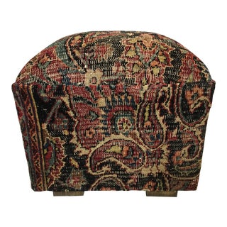 "Square Ottoman W/ Antique Tribal Bakhtiari Rug 18""H"