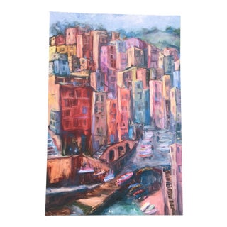 Pinks and Blues Vintage Positano Painting