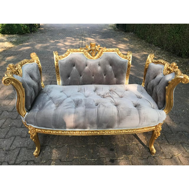 Gold French Louis XVI Style Gray Settee For Sale - Image 8 of 8