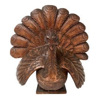 Vintage Carved Wood Peacock For Sale