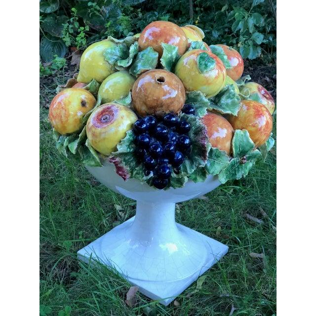 Italian Majolica Ceramic Fruit Basket Centerpiece For Sale - Image 4 of 11