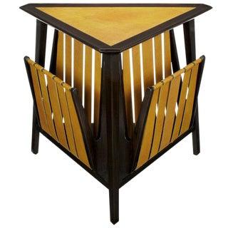 Rare Edward Wormley Dark Ash & Leather Magazine Table For Sale