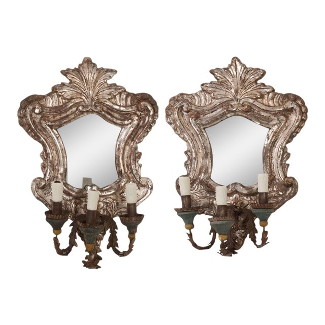 18th Century Italian Silver Gilt Venetian Sconces - a Pair For Sale