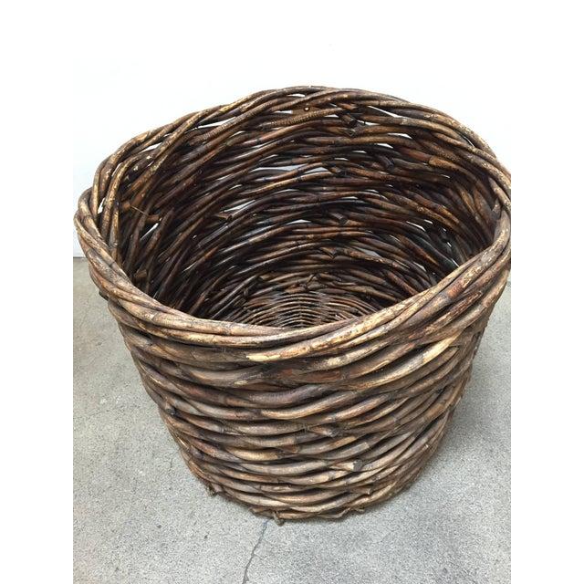 Arts & Crafts French Vintage Oversized Harvest Wicker Basket For Sale - Image 3 of 10