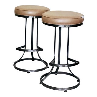 1960s Mid Century Shaver Howard Bar Stools Steel Swivel - Set of 2