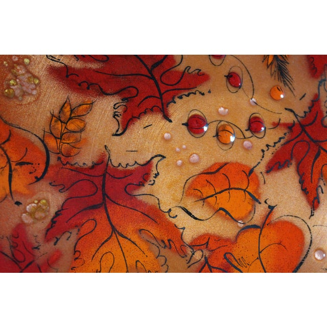Sascha Brastoff Mid-Century Orange Leaves Enamel Charger - Image 6 of 11