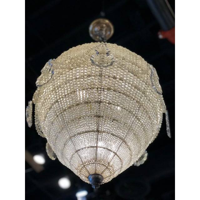 Early 20th Century French Inverted Pear Form Beaded Chandelier Circa 1900 For Sale - Image 5 of 6