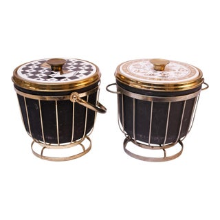 Duo of Mid-Century Decorative Ice Buckets by Georges Briard For Sale