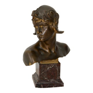 "Emmanuel Hannaux (French, 1855-1934) Bronze ""Bust of a Warrior"""