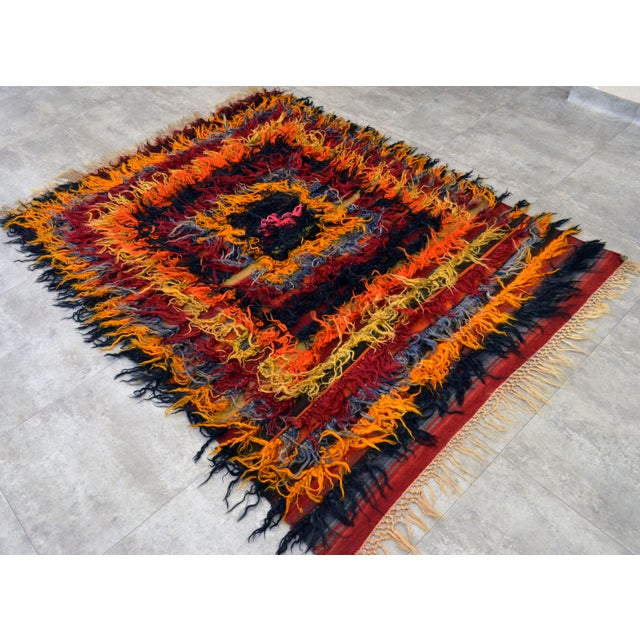 Antique Turkish Oushak Shaggy Mohair Tulu Rug - 4′6″ × 6′3″ - Image 4 of 10