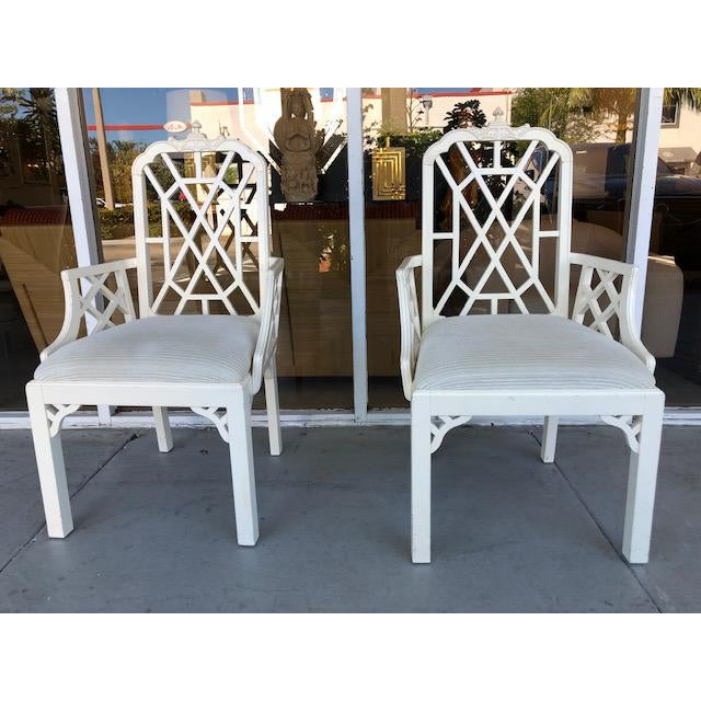 1970s Vintage Palm Beach Regency Chinoiserie Pagoda Arm Chairs- A Pair For Sale - Image 10 of 10