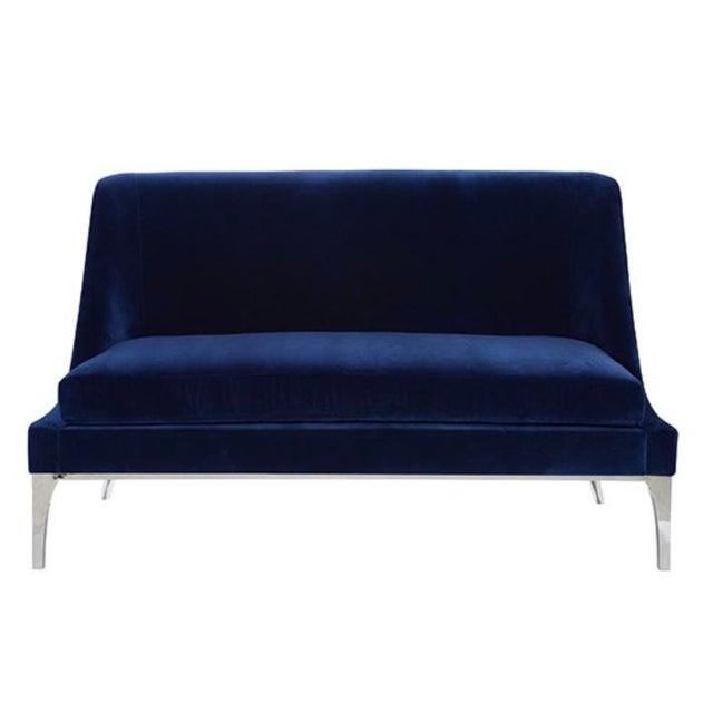 Worlds Away Worlds Away Modern Navy Blue Velvet Gianna Settee For Sale - Image 4 of 4
