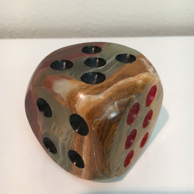 Oversized Alabaster Dice Paperweight For Sale - Image 5 of 5