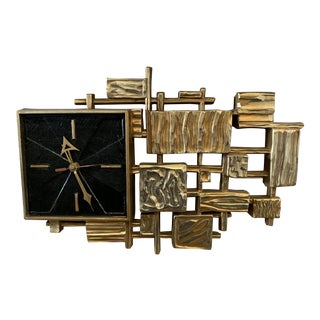 Brutalist Mid-Century Wall Clock For Sale