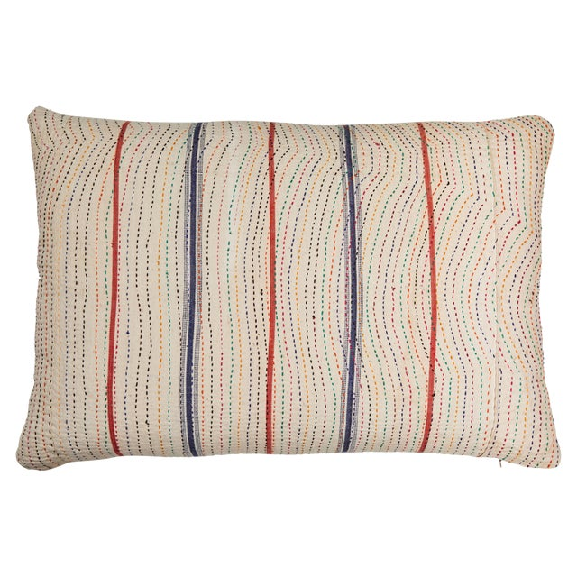 Indian Kantha Stitched Pillow For Sale