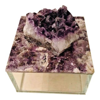 Amethyst Crystal Feng Shui Glass Box For Sale